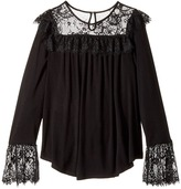 Ella Moss Jacey Long Sleeve Knit Top with Lace Girl's Clothing