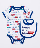 Buster Brown Limoges 'Daddy's Little Driver' Two-Piece Bodysuit & Bib