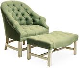 Bunny Williams Home Tufted Chair & Ottoman Set - Alpine/Green