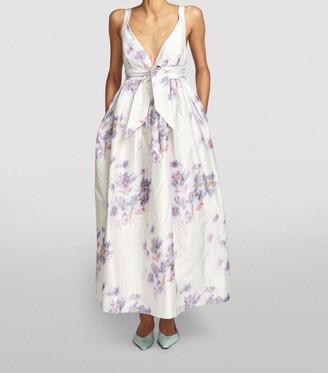 Brock Collection Silk Floral Gathered-Waist Gown
