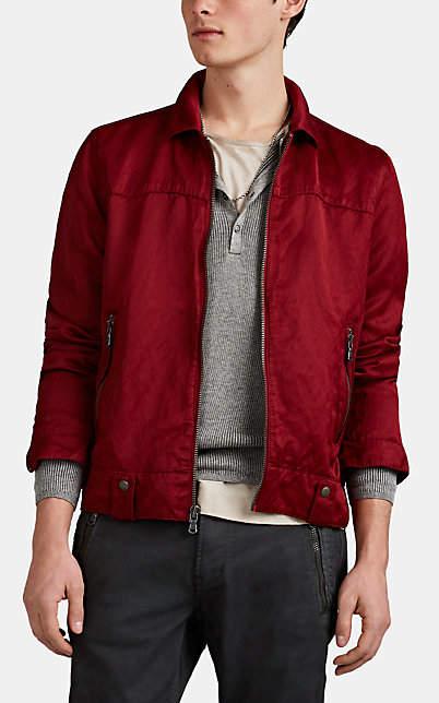 John Varvatos Men's Washed Silky Twill Zip-Front Shirt Jacket - Red