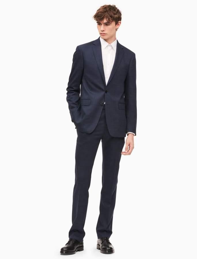 Calvin Klein x-fit ultra slim fit blue windowpane suit