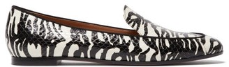 Aquazzura Purist Tiger-print Elaphe Loafers - Black/white