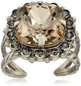 """Sorrelli Gold Vermeil"""" Crystal Cushion-Cut Ring, Size 7-9"""
