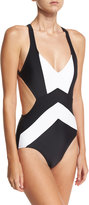 MICHAEL Michael Kors Cross-Back Colorblock One-Piece Swimsuit