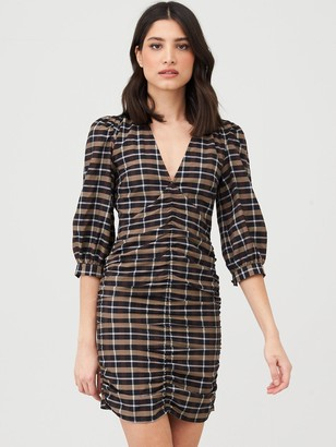 Very Ruched Front Mini Dress - Check