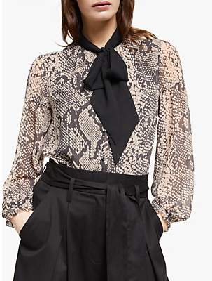 Somerset by Alice Temperley Pyhton Print Tie Neck Blouse, Neutral