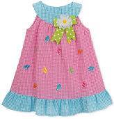 Rare Editions Flip-Flop Gingham-Print Ruffle Dress, Little Girls (4-6X)