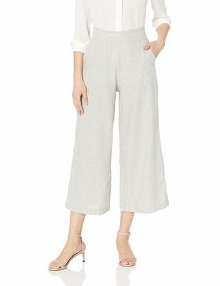 Max Studio Women's Flat Front Linen Blend Cropped Pant