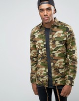 Pull&Bear Overshirt Jacket In Camo Print