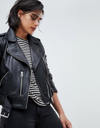 AllSaints leather balfern biker jacket