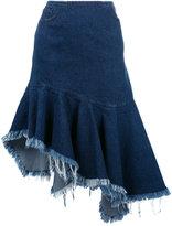 Marques Almeida Marques'almeida - frayed trim pleated denim skirt - women - Cotton - 10