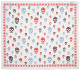 Alexander McQueen White and Red Skull Scarf