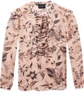 Maison Scotch Lattice Floral Blouse - 14 - Pink/Black/Grey