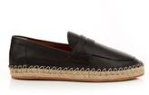 Valentino Black Leather Moccasin Espadrilles