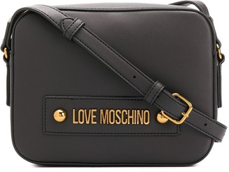 Love Moschino Logo Plaque Adjustable Strap Satchel Bag