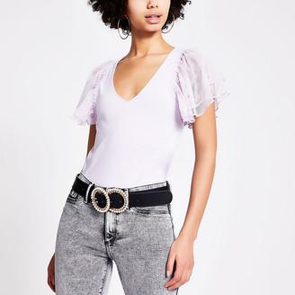River Island Purple mesh frill short sleeve V neck T-shirt