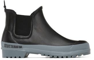 Stutterheim Black and Grey Rainwalker Chelsea Boots