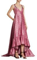 Erdem Janet Floral-Print Satin Tie-Back Gown