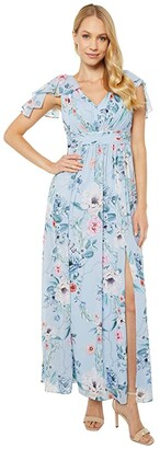 Adrianna Papell Petite Printed Chiffon Gown (Glacier Multi) Women's Dress