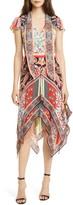 Alice + Olivia Tie Neck Handkerchief Hem Dress