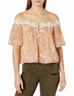 ASTR the Label Women's Bernadette Floral Print Cold Shoulder Top