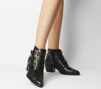 Office Astrology Western Boots With Buckles Black Leather Gold Hardware