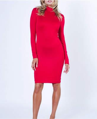 Lux La Long Sleeve Bodycon Mock Neck Solid Midi Dress
