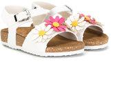MonnaLisa flower sandals - kids - Cotton/Leather/Sequin/rubber - 24