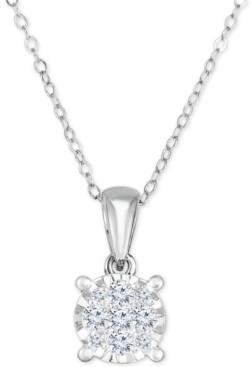 """TruMiracle Diamond Cluster 18"""" Pendant Necklace (1/2 ct. t.w.) in 14k White Gold"""