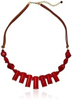 Barse Red Sea Bamboo Leather Necklace
