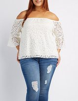 Charlotte Russe Plus Size Lace Off-The-Shoulder Bell Sleeve Top