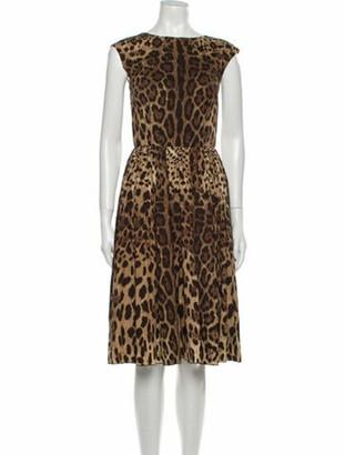 Dolce & Gabbana Animal Print Knee-Length Dress Brown