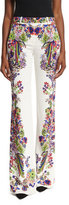 Roberto Cavalli Bell Heather Printed Flared Trousers, White/Multi