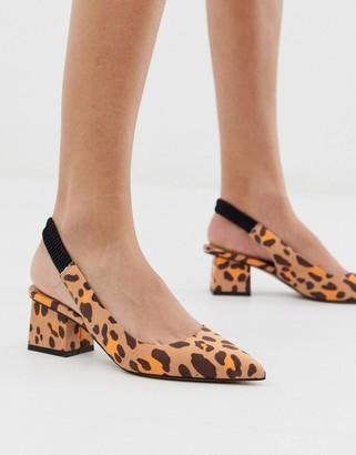 ASOS DESIGN Serve slingback mid-heels in leopard