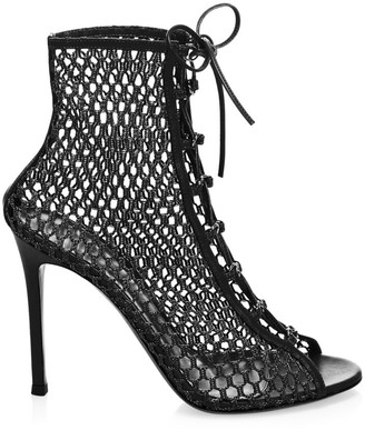 Gianvito Rossi Helena Lace-Up Mesh Leather Booties