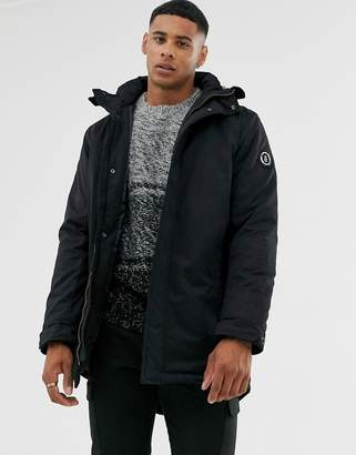 ONLY & SONS padded parka with wire frame hood-Black