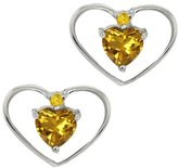 Gem Stone King 0.46 Ct Heart Shape Citrine and Simulated Citrine 14k White Gold Earrings