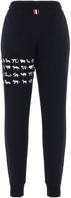 Thom Browne Animal Embroidered 4-Bar Sweatpants