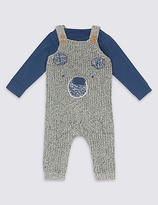Marks and Spencer 2 Piece Knitted Dungarees & Bodysuit Outfit