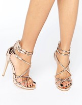 Boohoo Strappy Gladiator Heeled Sandals In Metallic