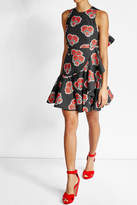Alexander McQueen Printed Cotton Ruffle Dress