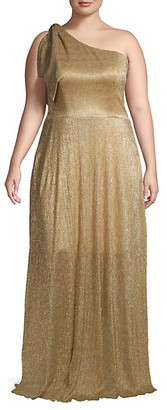Dress the Population Plus Textured One-Shoulder Gown
