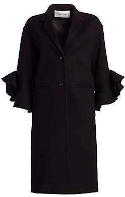 Valentino Women's Ruffle Sleeve Virgin Wool & Cashmere Coat