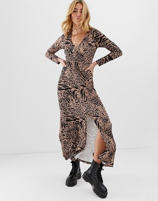 Asos Design DESIGN ruched front animal print maxi dress-Multi