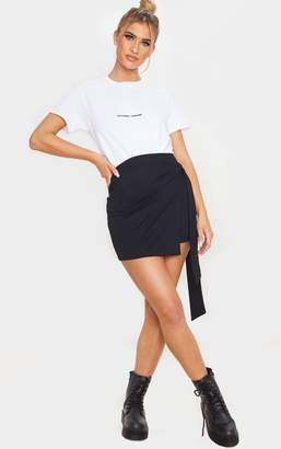 ASA Trad Black Crepe Wrap Mini Skirt
