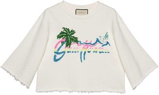 "Gucci Hawaii"" print cropped sweatshirt"