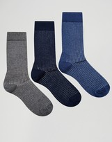 Asos Smart Socks With Rib 3 Pack