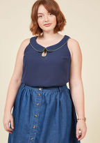 MCT1123D With your dreamy fashion sense, envisioning your ideal ensemble is an all-day affair. This navy blue blouse from our ModCloth namesake label brings those sartorial fantasies to life with its olive-trimmed Peter Pan collar and sweet keyhole - vintage-inspi
