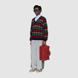 Gucci Argyle alpaca wool V-neck jumper